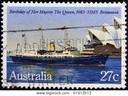 AUSTRALIA - CIRCA 1983: A Stamp printed in Australia shows the HMY Britannia