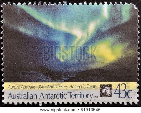 AUSTRALIAN ANTARCTIC TERRITORY - CIRCA 1991: Stamp printed in australia shows Aurora Australis