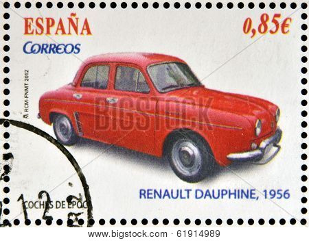 SPAIN - CIRCA 2012: Stamps printed in Spain dedicated to classic car shows Renault Dauphine 1956