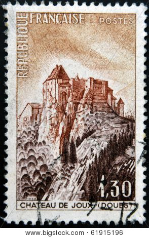 FRANCE - CIRCA 1965: A stamp printed in France shows the Fort de Joux circa 1965