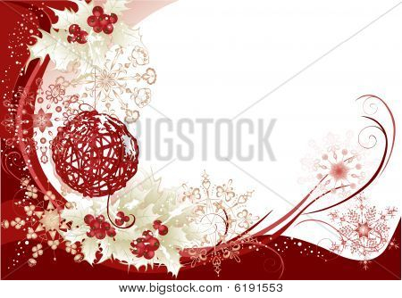 Red Christmas Frame Background