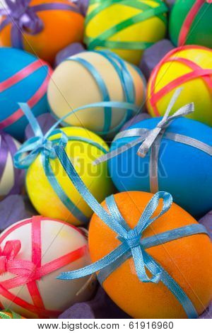 Colorful background with easter painted eggs