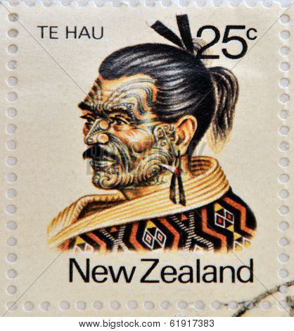 NEW ZEALAND - CIRCA 1980: A stamp printed in New Zealand shows Maori Leader Te Hau-Takiri Wharepapa