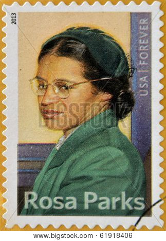 a stamp printed in USA showing Rosa Parks