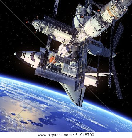 Space Shuttle And Space Station.