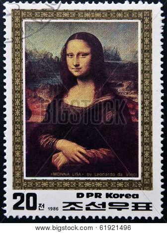 DPR KOREA - CIRCA 1986: A stamp printed in North Korea shows painting