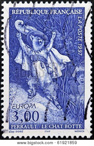 FRANCE - CIRCA 1997: A stamp printed in France shows Puss in Boots Perrault tale circa 1997
