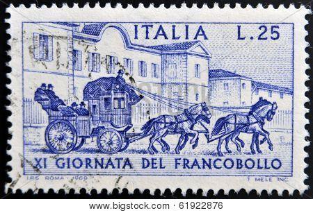 ITALY - CIRCA 1969: a stamp printed in Italy shows Sondrio-Tirano Stagecoach 1903 circa 1969