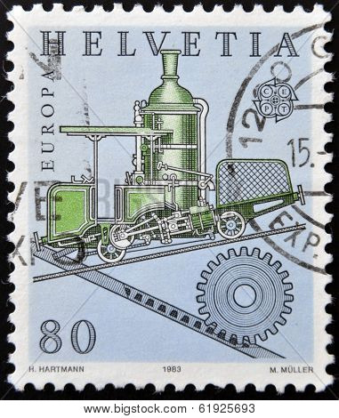 SWITZERLAND - CIRCA 1983: stamp printed in Switzerland shows Cog railway circa 1983