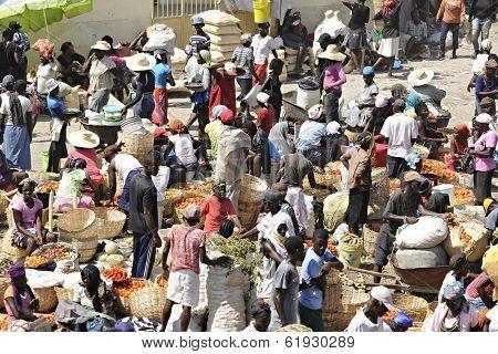 SAINT MARC, HAITI - FEB 12, 2014.  An overhead view of a busy Haitian marketplace.