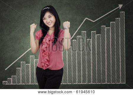 Cheerful Businesswoman Expressing Success