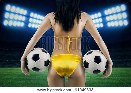 Sexy Female Supporter At Soccer Stadion
