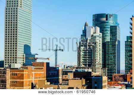 Montreal Buildings Under Construction And Cranes