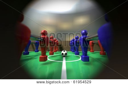 Foosball Table Through A Peephole