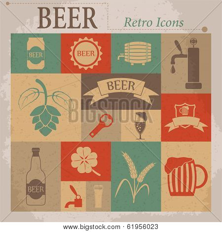 Beer Vector Flat Retro Icons