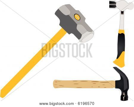 Group of work hammers