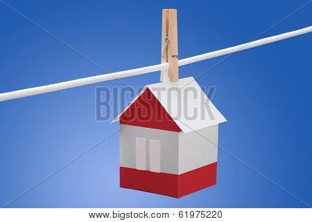 Austrian flag on paper house