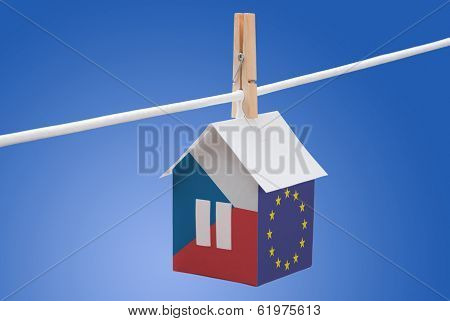 Czech and EU flag on paper house