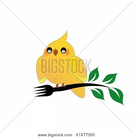 Cute cockatiel holding a fork and green leaves poster