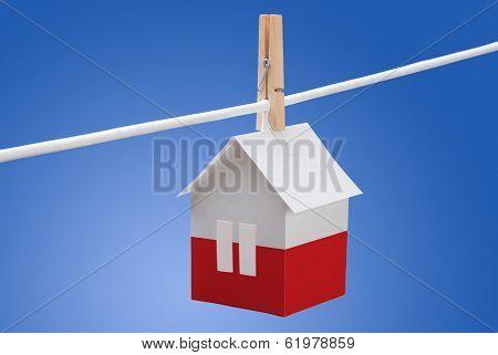 poland, polish flag on paper house