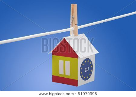 Spain, Spanish and EU flag on paper house