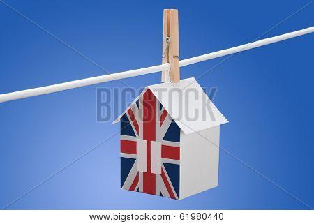 British, britain flag on paper house