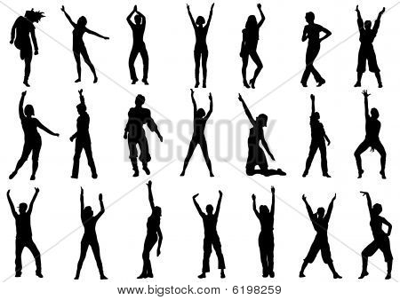 Dancing girls in action vector illustration