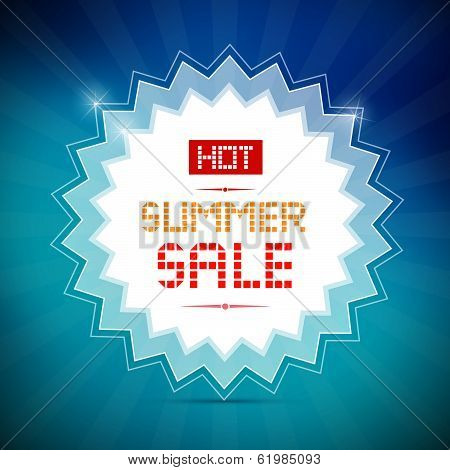 Hot Summer Sale Title on Vector Blue Background