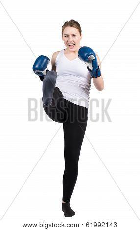 Woman Performs Kick