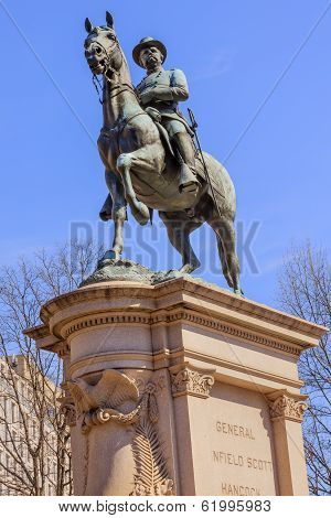 General Winfield Scott Hancock Equestrian Statue Civil War Memorial Pennsylvania Avenue Washington DC. Created by Henry Ellicot and dedicated in 1896. poster