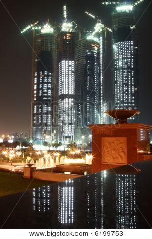 Abu Dhabi skyline building at night