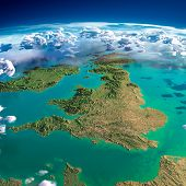 Highly detailed fragments of the planet Earth with exaggerated relief translucent ocean and clouds illuminated by the morning sun. United Kingdom and Ireland. Elements of this image furnished by NASA poster