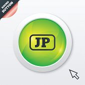 Japanese language sign icon. JP Japan translation symbol with frame. Green shiny button. Modern UI website button with mouse cursor pointer. Vector poster