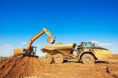 wheel loader excavator machine loading dumper truck at sand quarry poster