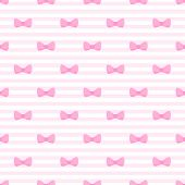 Seamless vector pattern with bows on a pastel pink strips background. poster