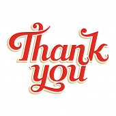 Thank You hand lettering, abstract vector inscription poster