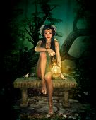 3d computer graphics of a girl with lantern sitting on a bench in the forest poster