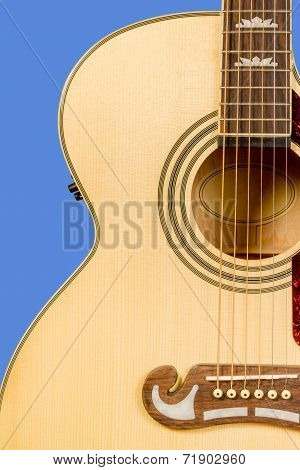 Classical Acoustic Guitar Fragment With Six Strings And Soundboard Rosette