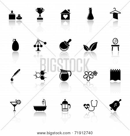Spa Treatment Icons With Reflect On White Background