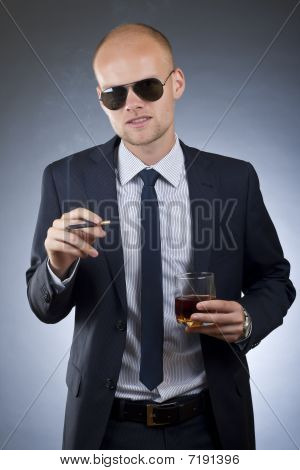 Smoking Businessman
