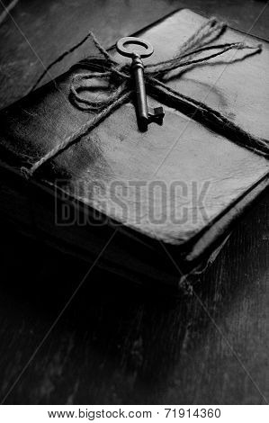 Vintage Key and a Leather Notebook