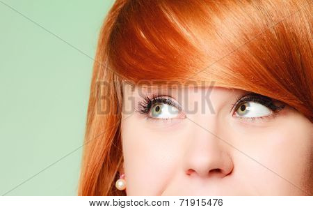 Redhair Girl Thoughtful Woman Thinking Looking Up,