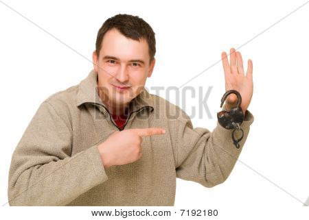 Man Pointing To Open Lock
