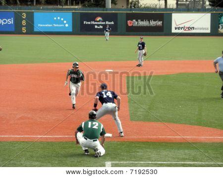 Hawaii Baseball Player Head To Third Base