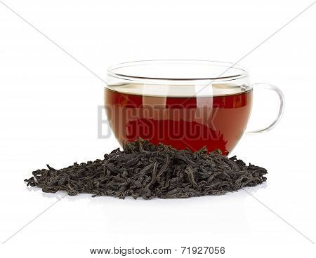 Cup Of Tea And Leaves Black Tea Isolated On White Background