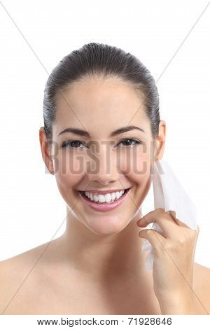 Beautiful Woman Cleaning Face With A Facial Wipe