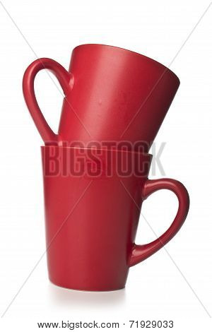 Red cups isolated on white background