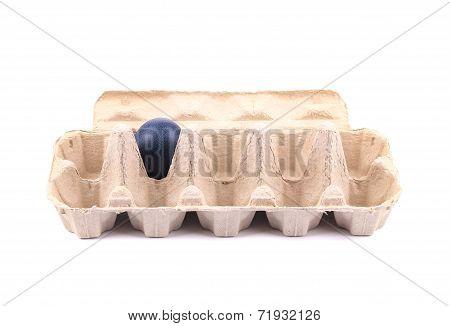 Blue easter egg in cardboard box.