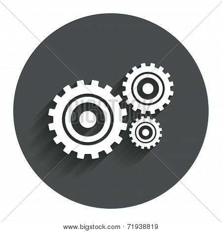 Cog settings sign icon. Cogwheel gear mechanism symbol. Circle flat button with shadow. Vector poster