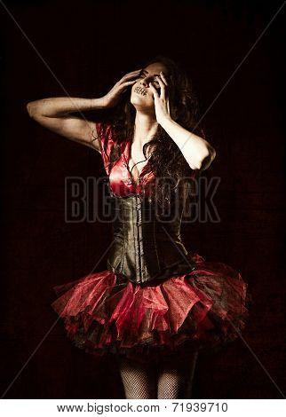 Horror Shot: Strange Girl With Mouth Sewn Shut Among The Dark. Grunge Texture Effect
